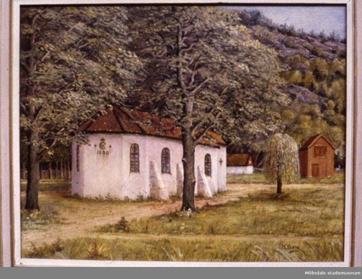 Vad är det för hus? i Mölndal.En tavla målad av den naivistiske mölndalskonstnären Knut Berg.