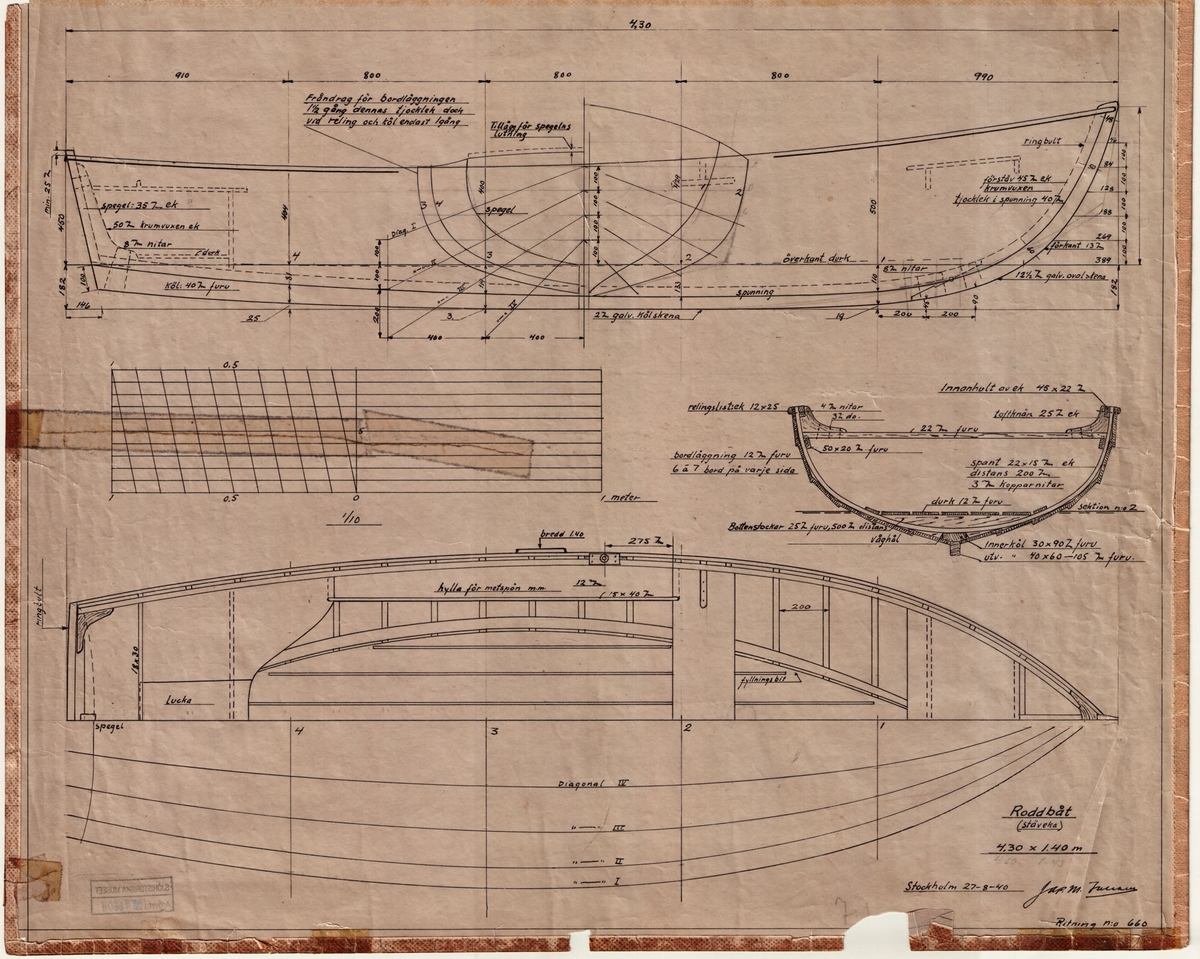 Spantruta, Byggnadsritning i sektion; Plan och profil