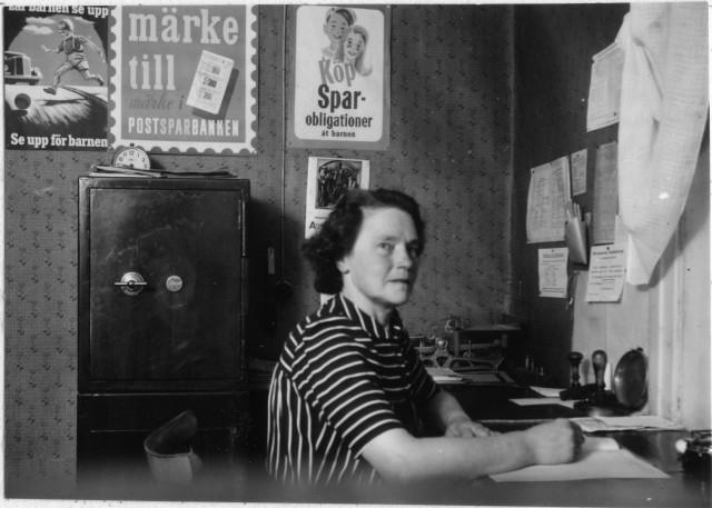 Ragunda postområde. Lindensboda poststation, interiör, 1947.