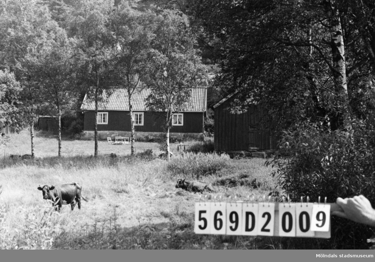 Byggnadsinventering i Lindome 1968. Lindome 4:8. Hus nr: 569D2009. Benämning: permanent bostad, två ladugårdar och redskapsbod. Kvalitet, bostadshus och ladugårdar: mindre god. Kvalitet, redskapsbod: dålig. Material: trä. Tillfartsväg: framkomlig.