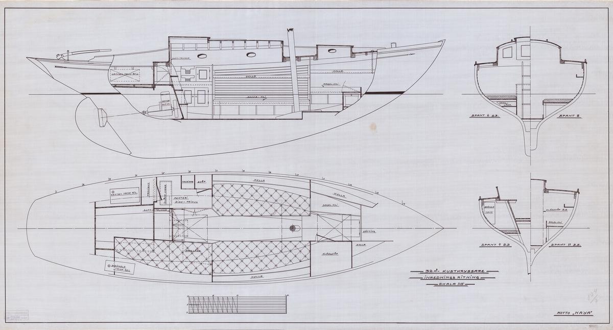 Inredningsritning i plan, profil och sektion
