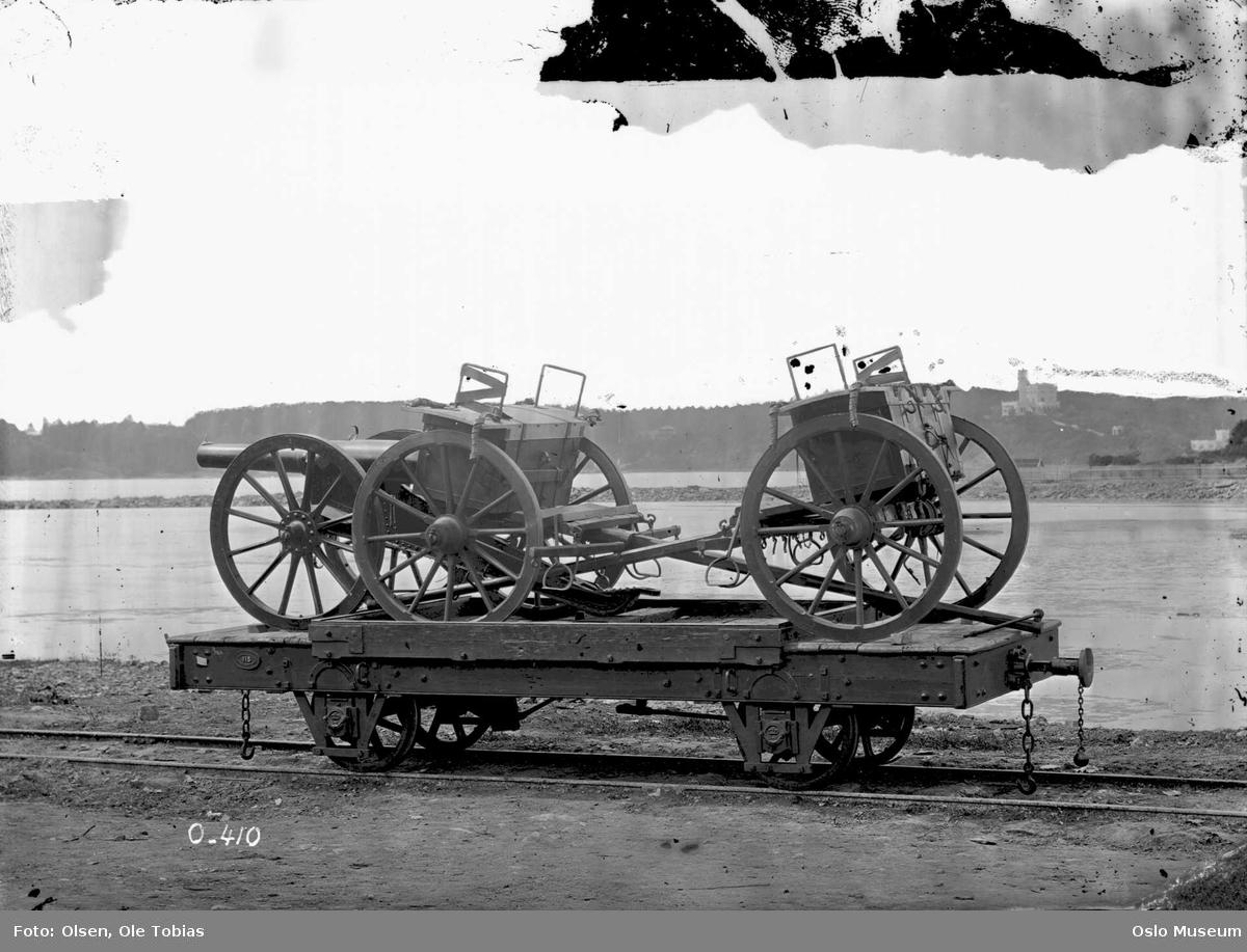 jernbanevogn, militært utstyr, feltkanon med tilbehør