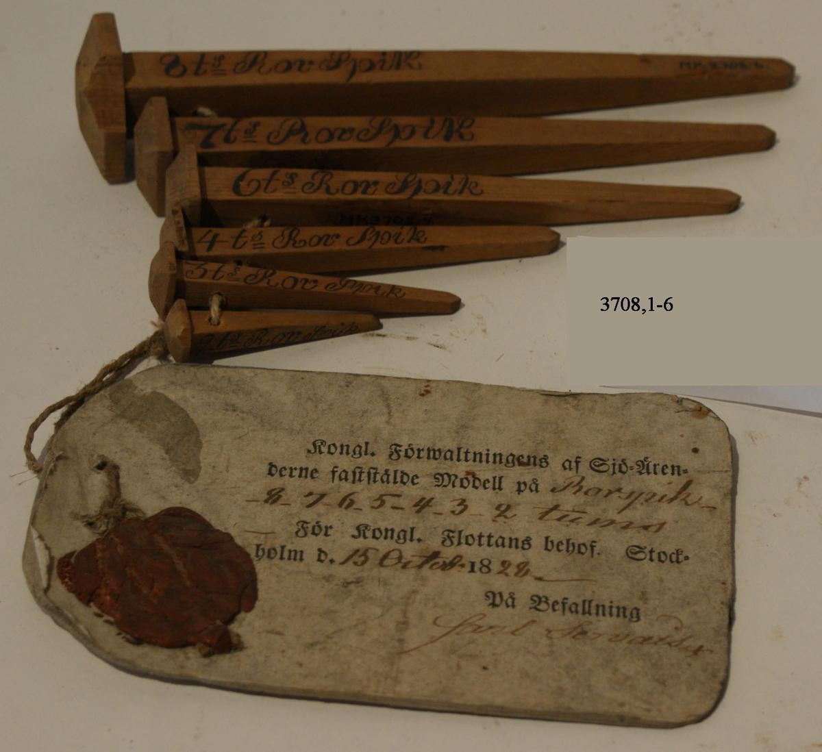 Rorspik. Modell av trä med vidhängande fastställelsebricka. Sigill fastställd den 15 okt 1828.