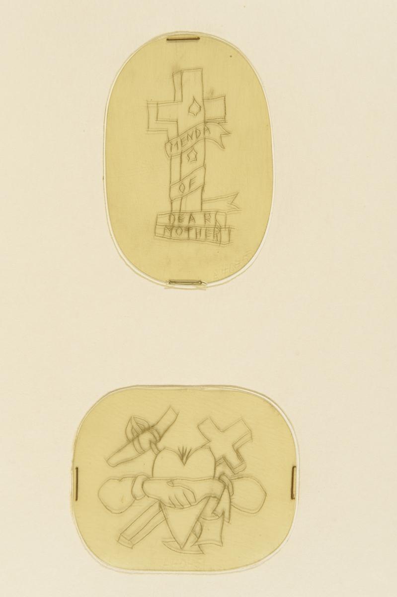 """Tatueringsförlaga. Två olika motiv. 1. Ett kors omlindat med ett band med texten """"MENDA OF DEAR MOTHER"""". 2. Två händer i ett handslag framför ett hjärta. I bakgrunden ett korsat ankare och kors."""