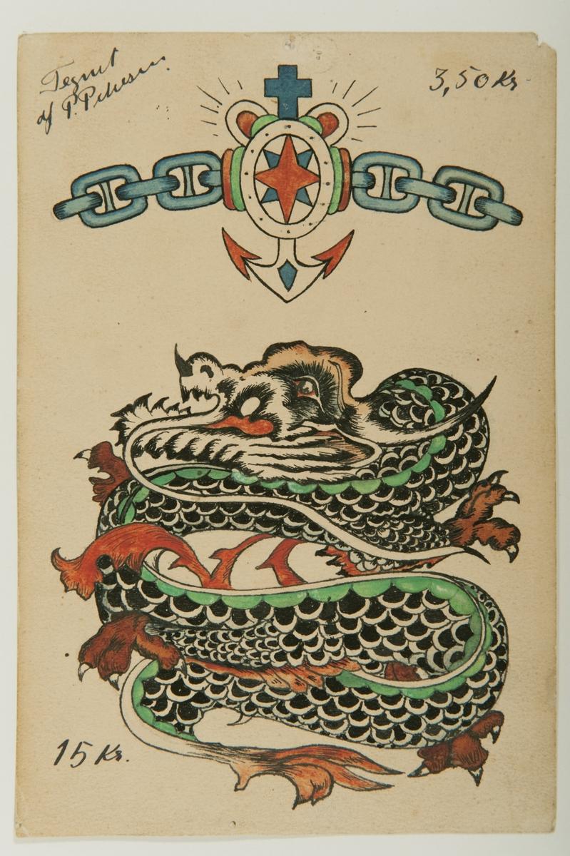 Tatueringsförlaga. Två olika motiv. 1. En stjärna på en vapensköld uppburen av en kedja. I bakgrunden ett ankare krönt av ett hjärta och ett kors. 2. En ringlande drake med svarta fjäll.