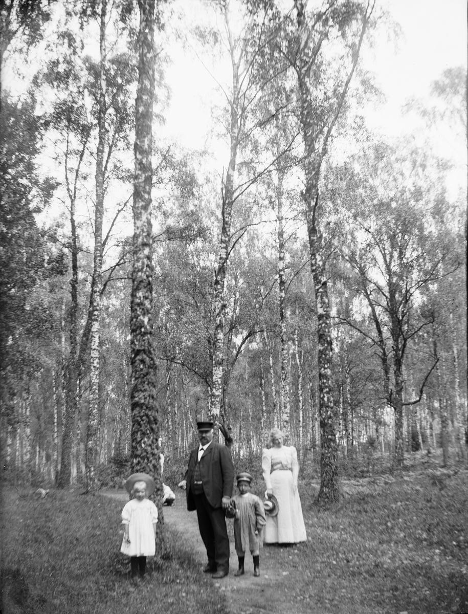 Lisa, Frithiof, Erik och Marianne Liljefors i Visbohammars hage, Gnesta, Södermanland 1900 - 1901