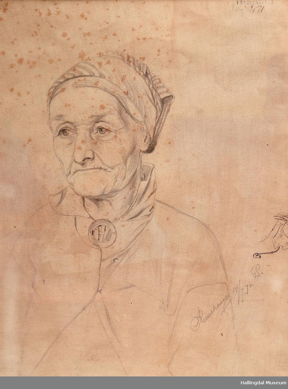 """Portrett av Kari Rimehaugen, Ål (ifølge Nils Ellingsgard og boka """"Hallingdal i biletkunsten"""")."""