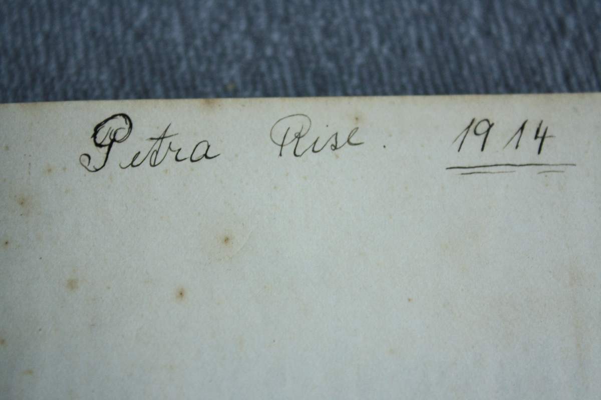 Bok med mjuk perm. Tittelen inngravert med gullskrift. Stempel på baksida. Enkel dekor ingravert både på framside og bakside bok.