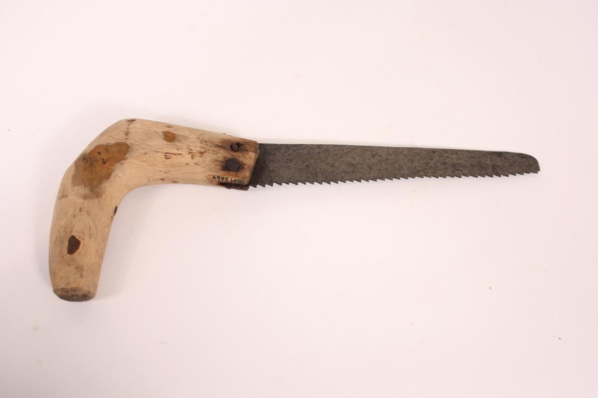Langt smalnande sagblad med små tenner og naturvakse bjørkeskaft i eine enden