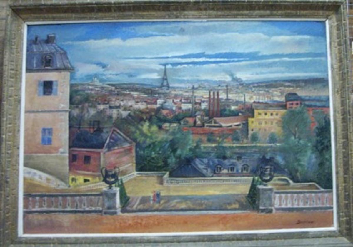 Motiv= Landskap, Paris.  Konstnären var född i Vassända - Naglum.  År 1919 flyttade han till Paris där han avled. Tavlan skänkt av konstnärens änka och förmodligen har detta skett via  Pontus Grate, Svenska Institutet i Paris.