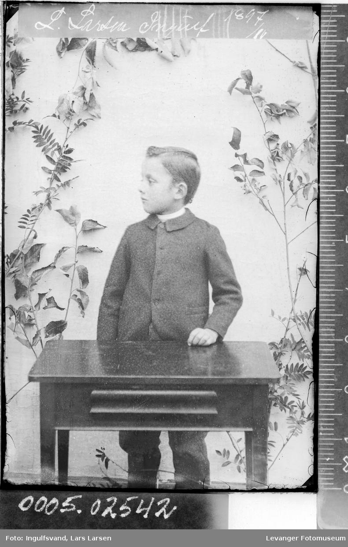 Portrett av en gutt som står bak et bord.