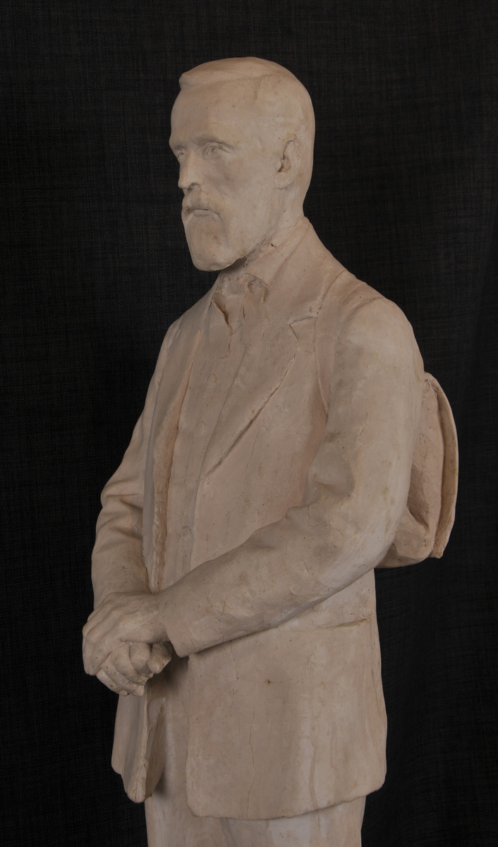 Gipsskulptur som førestiller Aasmund Olavsson Vinje. Denne er støypt i bronse og står utanfor Telemark Museum i Skien.