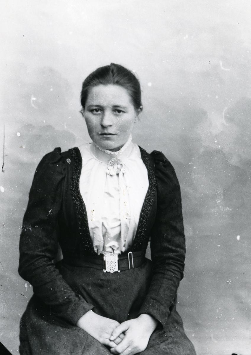 Kvinne kledd i mørk kjole og hvit bluse, med sølje, i halvfigur foran lerret