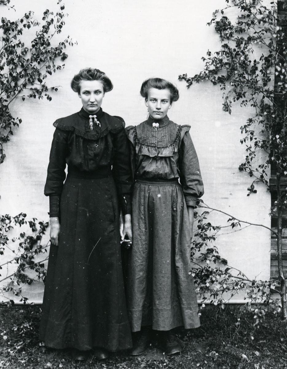 To kvinner i helfigur, hånd i hånd, stående foran lerret, med bjørkekvister
