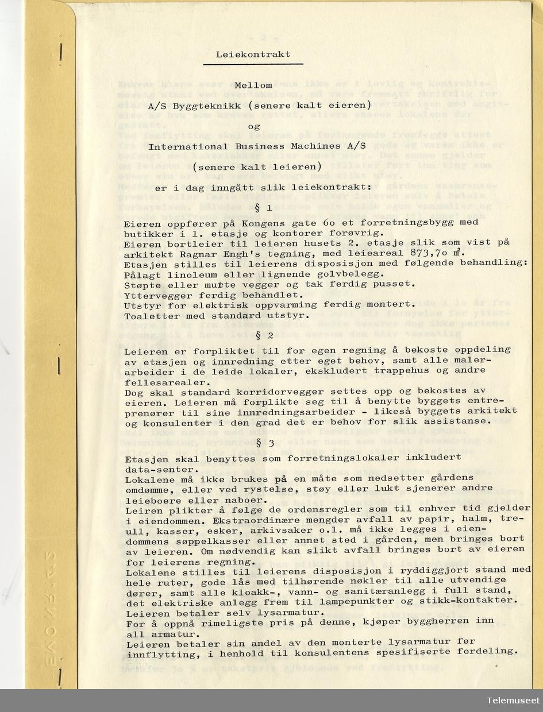 4.2 IBM Trondheim kontor - leiekontrakt mellon A/S Byggeteknikk og IBM Kongens gt 60, 15. jan 1968