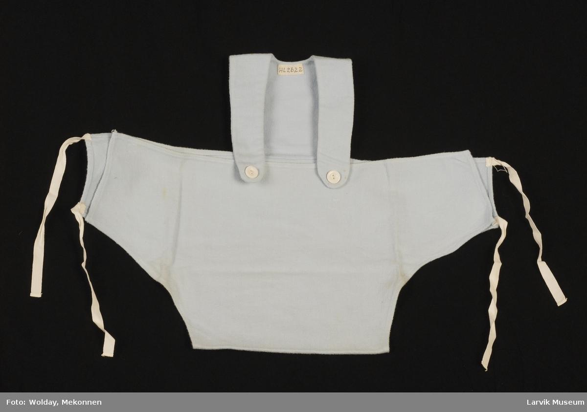 Form: løyertform med knyting bak, uten ben, knapper på selene