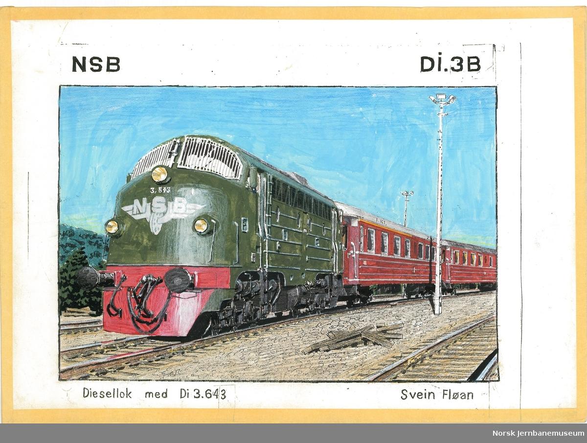 """Tegning """"NSB Di3b Diesellok med Di 3.643"""" tegning på papir med tape rundt kantene"""