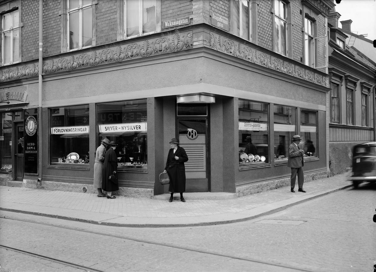 C D Bäckströms guldsmedsaffär, Vaksalagatan 7, Uppsala 1935