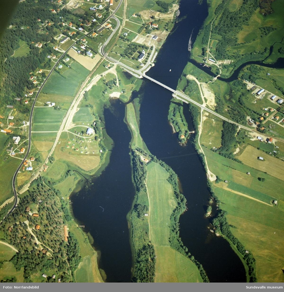 Flygfoton över Ljungan, Stödesjön och samhället Stöde.