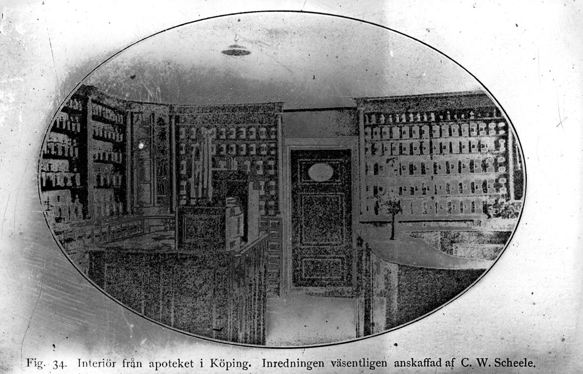 Interiör från Scheeles apotek. Reproduktion av Österberg.