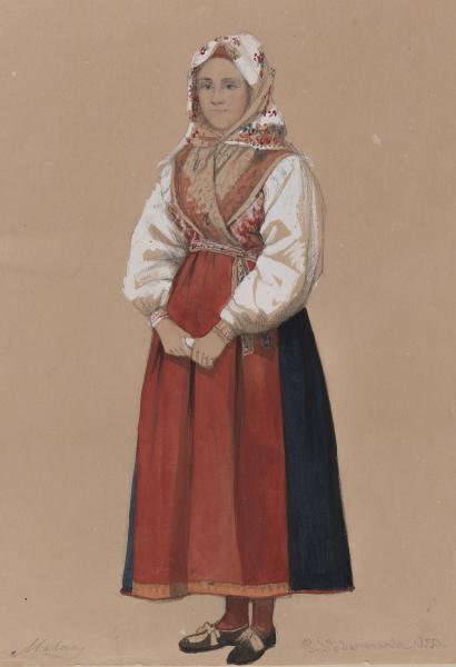 """""""Malung"""". Kvinna i dräkt. Akvarell av P Södermark."""
