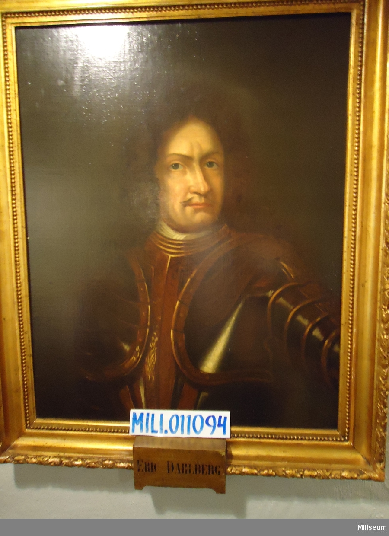Porträtt i olja på duk av Erik Dahlbergh, inramad i förgylld träram.