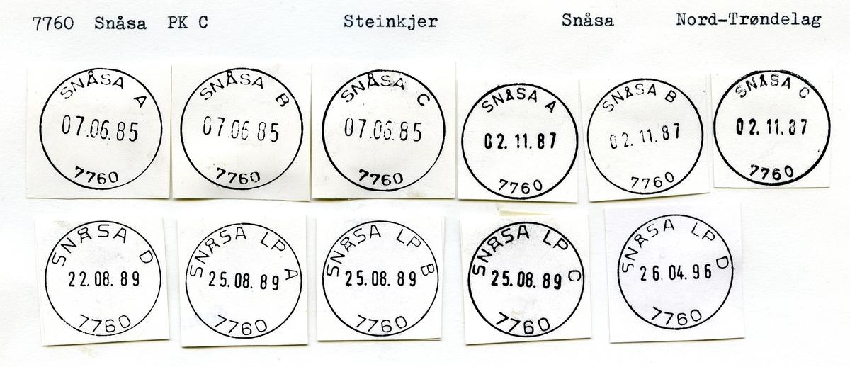 Stempelkatalog  7760 Snåsa, Snåsa kommune, Nord-Trøndelag (Snaasen)
