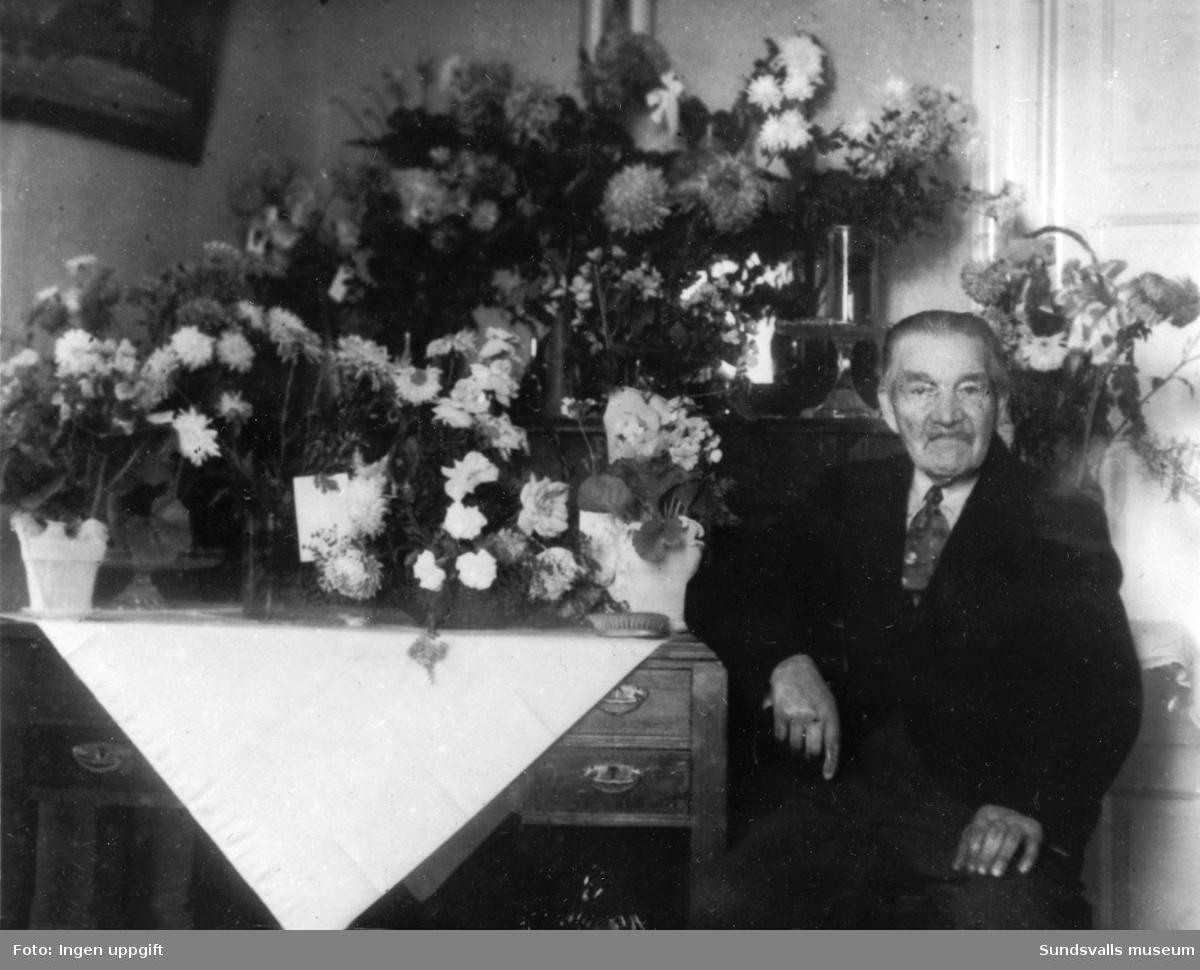 """Erik Olof Andersson (1858-1949) arrendator och senare ägare till Rödön, kallad """"Rödökungen"""". Förvärvade Rödön av Åvike bruk som använde ön för koltäckt.  Födelsedagsporträtt."""