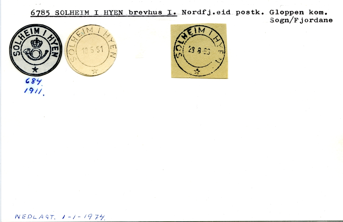Stempelkatalog  6785 Solheim i Hyen, Gloppen kommune, Sogn og Fjordane