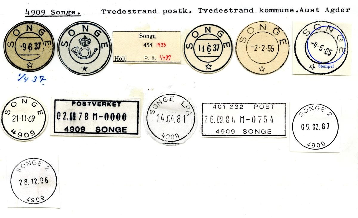 Stempelkatalog  4909 Songe, Tvedestrand kommune, Aust Agder