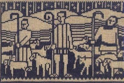 Tavla broderad i korsstygn på oblekt linne med blått bomullsgarn.