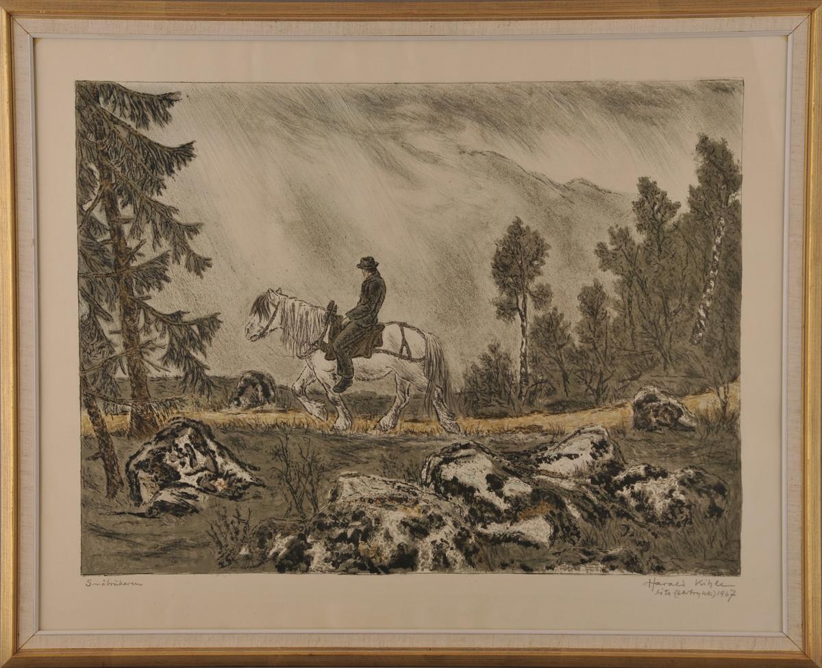 """""""Småbrukeren"""" - mann på kvit hest i eit skog og heilandskap."""