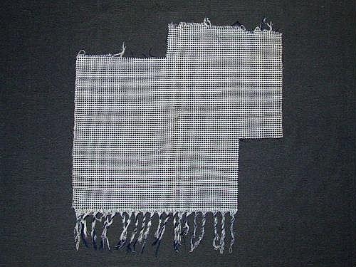 Prov av bomullsväv i kypert i färgeffekt. Blått och vitt. 8-skaft med varp- och inslagseffekt.