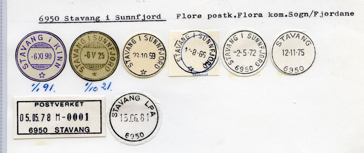 Stempelkatalog  6950 Stavang , Flora kommune, Sogn og Fjordane (Stavang i Kinn, Stavang i Sunnfjord)