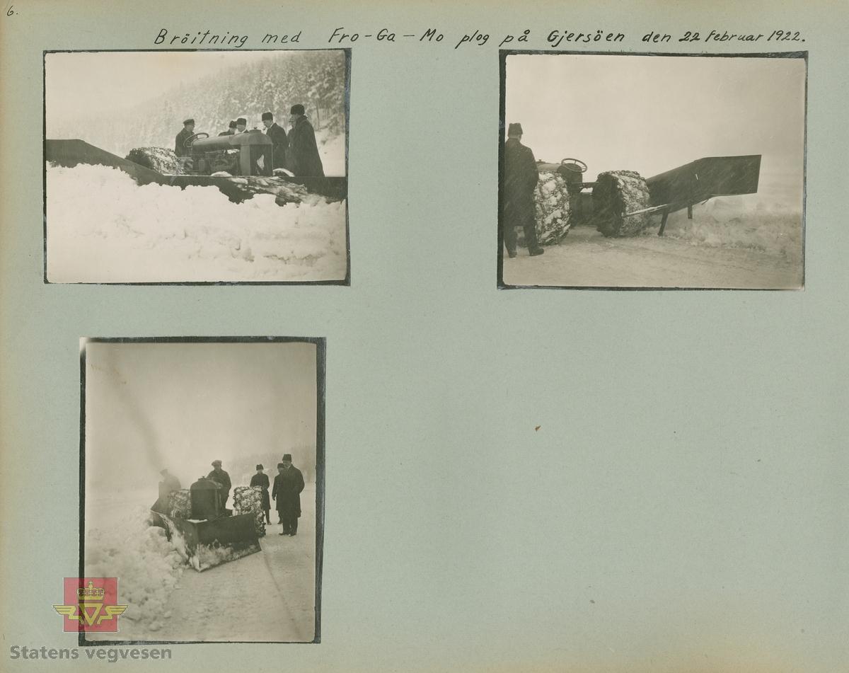 """Album fra 1918-1934, """"Snebrøyting."""" I følge merking: """"Brøitning med Fro-Ga-Mo plog på Gjersöen den 22. februar 1922."""" Fordson traktor med kraftige bakhjul. Fro-Ga-Mo: Verksed/bilverksted i Oslo, som også reparerte hesteutsyr og  traktorredskap. Senere også drivstoff-leverandør.  I 1975 overtar Svein  Ellingsen A/S  utstyr og mannskap etter Fro-Ga-Mo som ble oppkjøpt av Norske Fina A/S."""