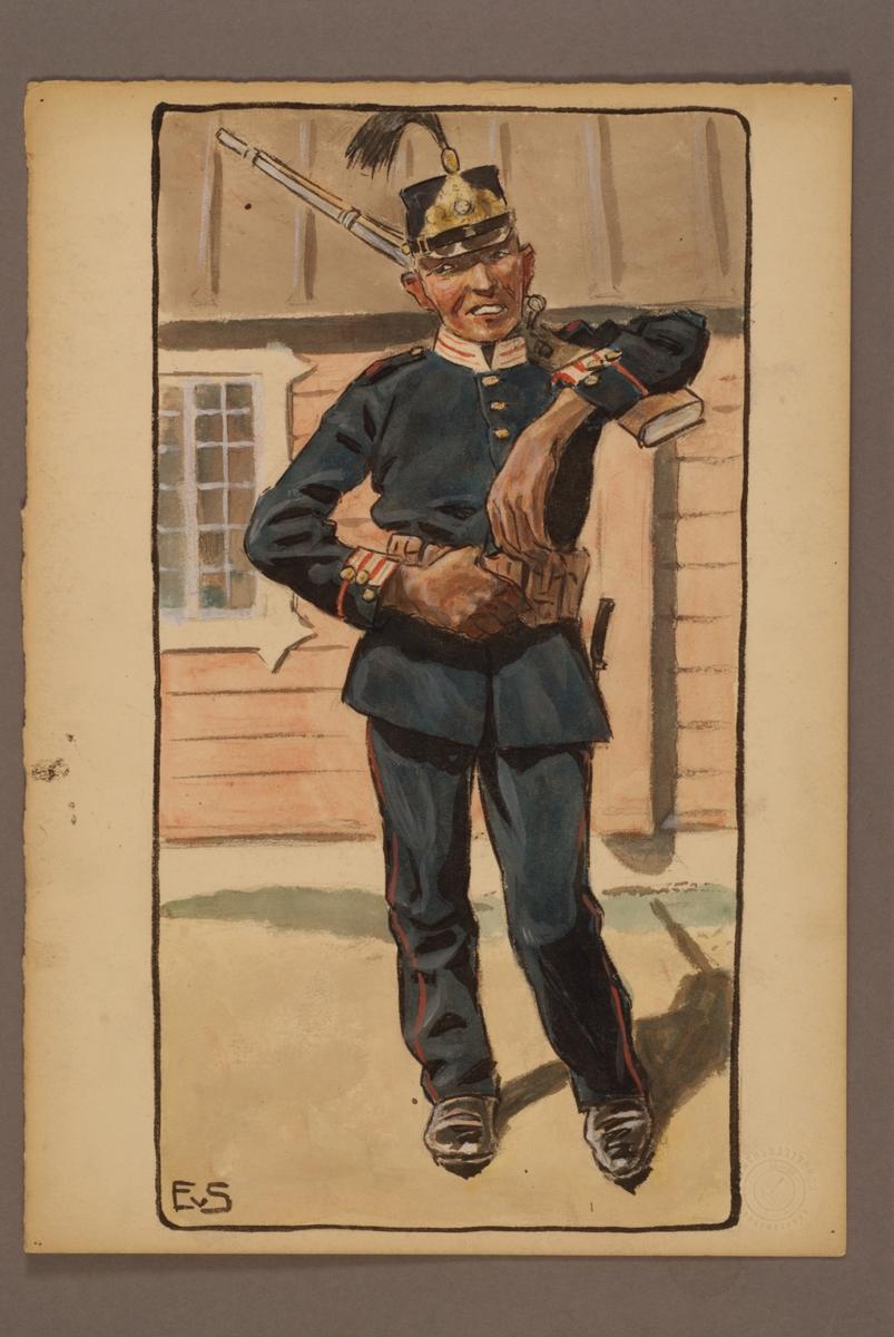 Plansch med uniform för Andra Livgrenadjärregementet, ritad av Einar von Strokirch.