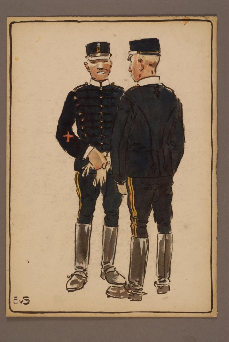 Plansch med uniform för Wendes artilleriregemente, ritad av Einar von Strokirch.