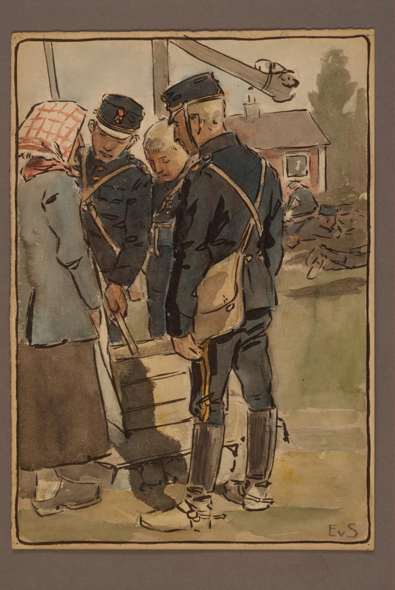 Plansch med uniform för Andra Svea artilleriregemente, ritad av Einar von Strokirch.