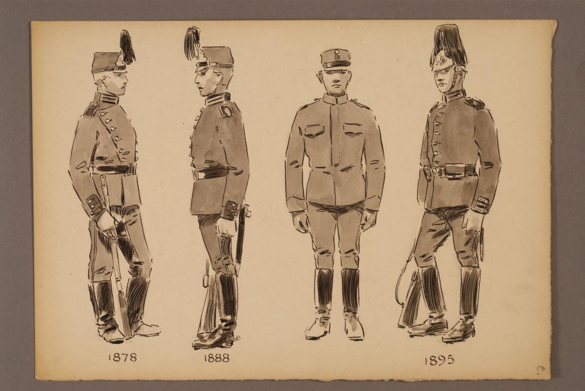 Plansch med uniform för Ingenjörstrupper för åren 1878-1895, ritad av Einar von Strokirch.