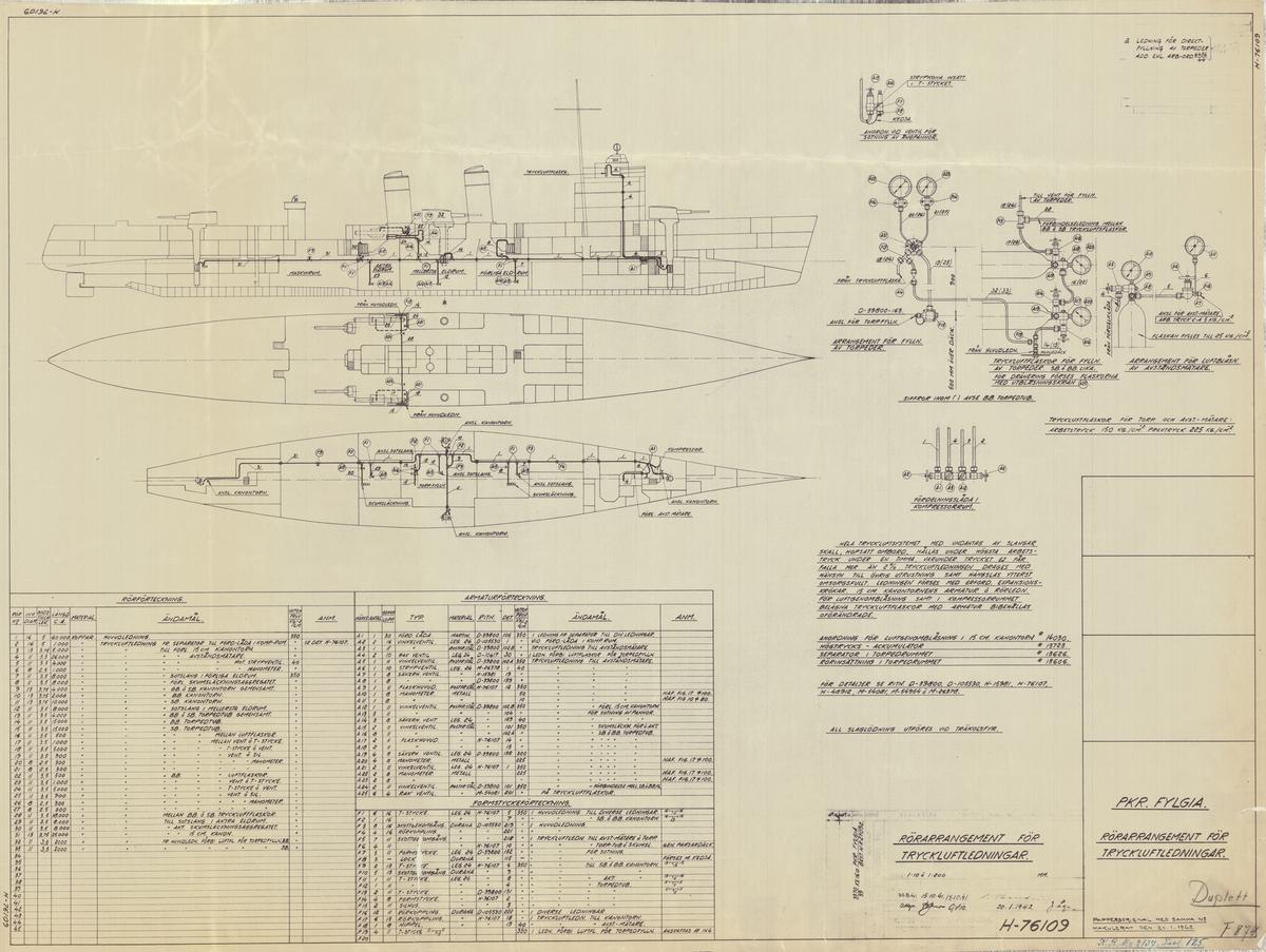 2 st sammanställningsritningar på rörarrangemang för tryckluftsledningar