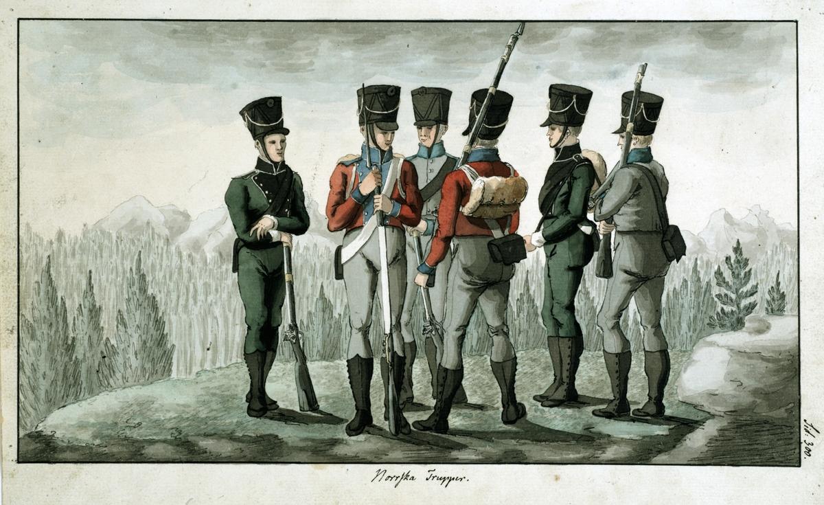 Norska trupper. Originalteckning i färg av Carl Johan Ljunggren.