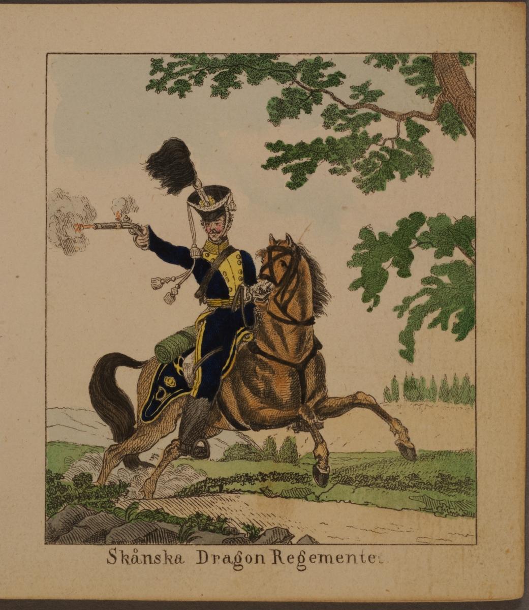 Miniatyrteckning med uniform för Skånska dragonregementet. Färgtryck i boken Miniatur-teckningar af åtskilliga swenska militair-uniformer, utgiven av Carl Theodor Löwstädt på 1820-talet.