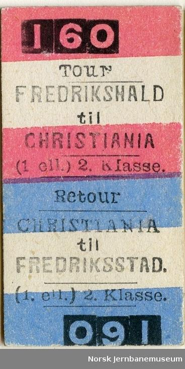 Tur/returbillett Fredrikshald-Christiania, (1. ell.) 2. Kl., ubrukt