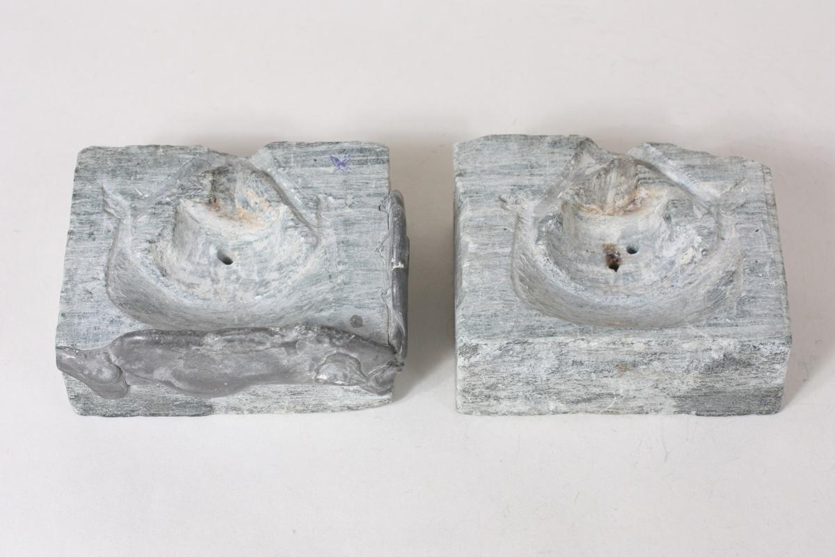 Form: Kvadrat Form til eit skip (Lysestake/pyntegjenstand?) L:6,0  H:6,8 cm.