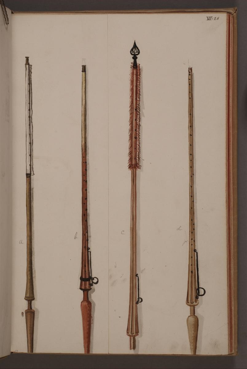 Avbildning i gouache föreställande standarstänger tagna som troféer av svenska armén. Stången längst till vänster och stången näst längst till höger i bild finns bevarade i Armémuseums samling, för mer information, se relaterade objekt.