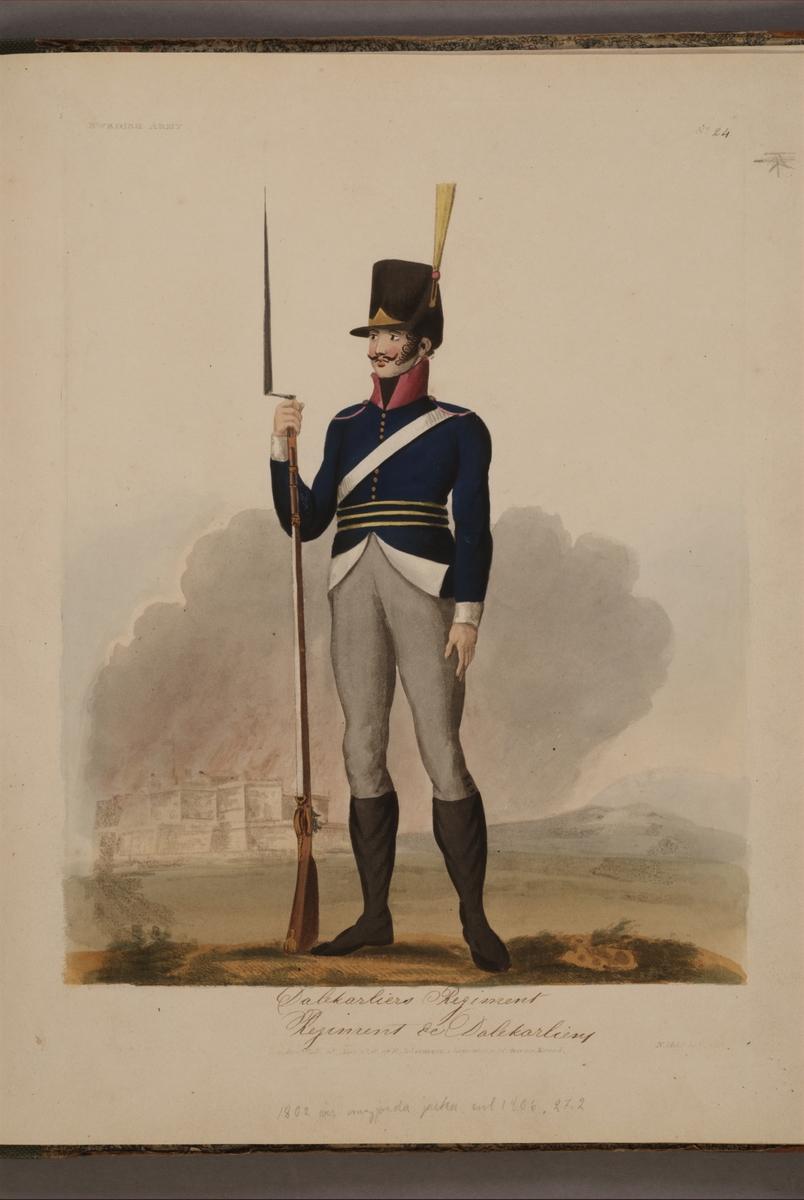 Plansch med uniform för Dalregementet, ritad av Frederic Eben i boken The Swedish Army, utgiven 1808.