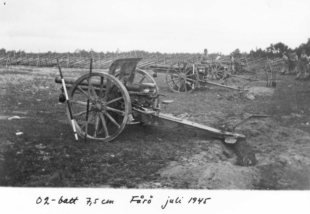 Ett batteri från Gotlands artillerikår A 7 övar med 7,5 cm kanon m/1902 på Fårö 1945.