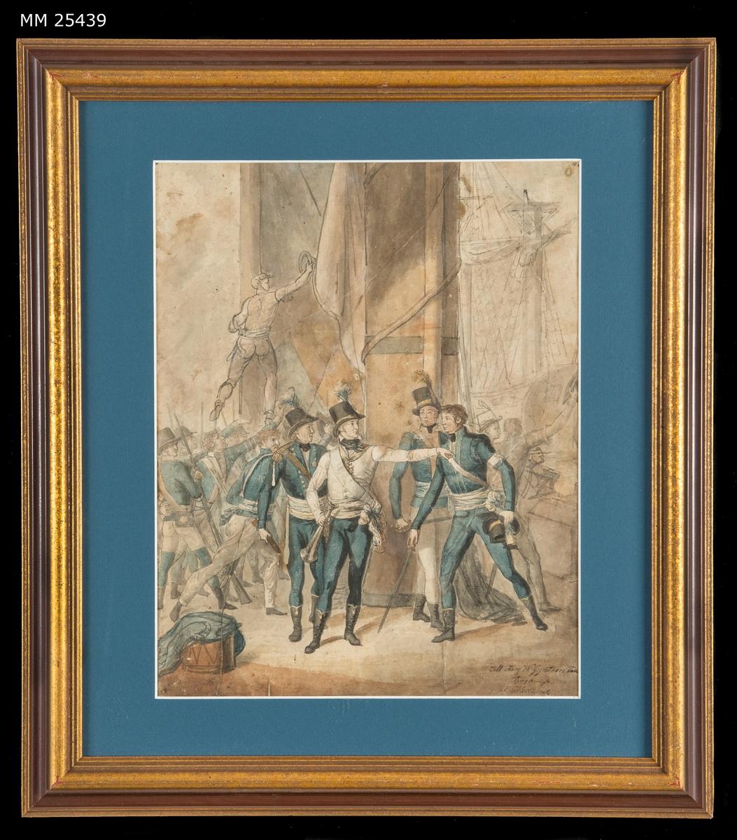 Akvarell som visar hertig Karl (sedermera Karl XIII) på ett fartygsdäck under slaget vid Hogland år 1788. Hertigen är klädd i vit uniformsjacka med blå byxor och hatt med plym, han pekar med högerhanden och håller en ropare i vänsterhanden. Runt honom står tre officerare med blå uniformer och bakom dem syns en av fartygets master. I bakgrunden syns svenska soldater och sjömän med bajonettförsedda musköter. I förgrunden ligger en trumma på däck.  Målningen är inramad i en guldmålad profilerad ram och försedd med blå passepartout.