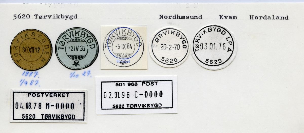 Stempelkatalog 5620 Tørvikbygd, Norheimsund, Kvam, Hordaland