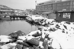 Utfylte steinmasser innerst i Harstadsjøen. Bebyggelse langs